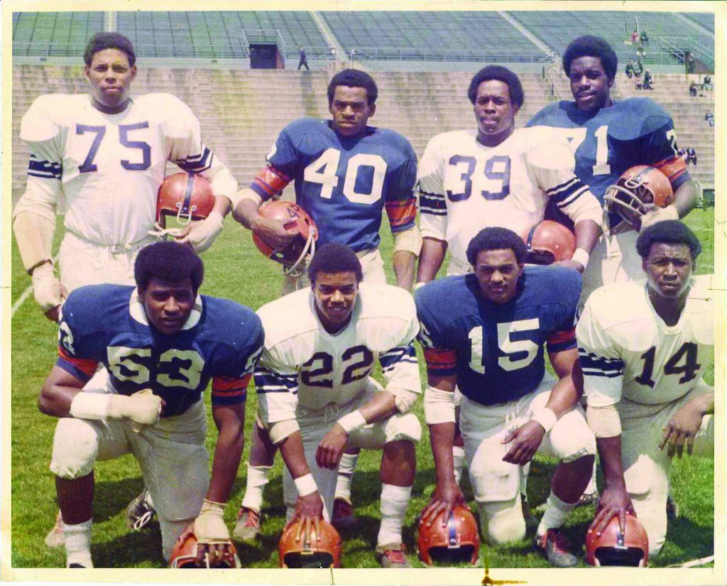 The Syracuse 8 (pictured here) boycotted the football team during the spring of 1970 after changes to the program went unaddressed. In 2006, they returned to Syracuse and were honored with the Chancellor's Medal.