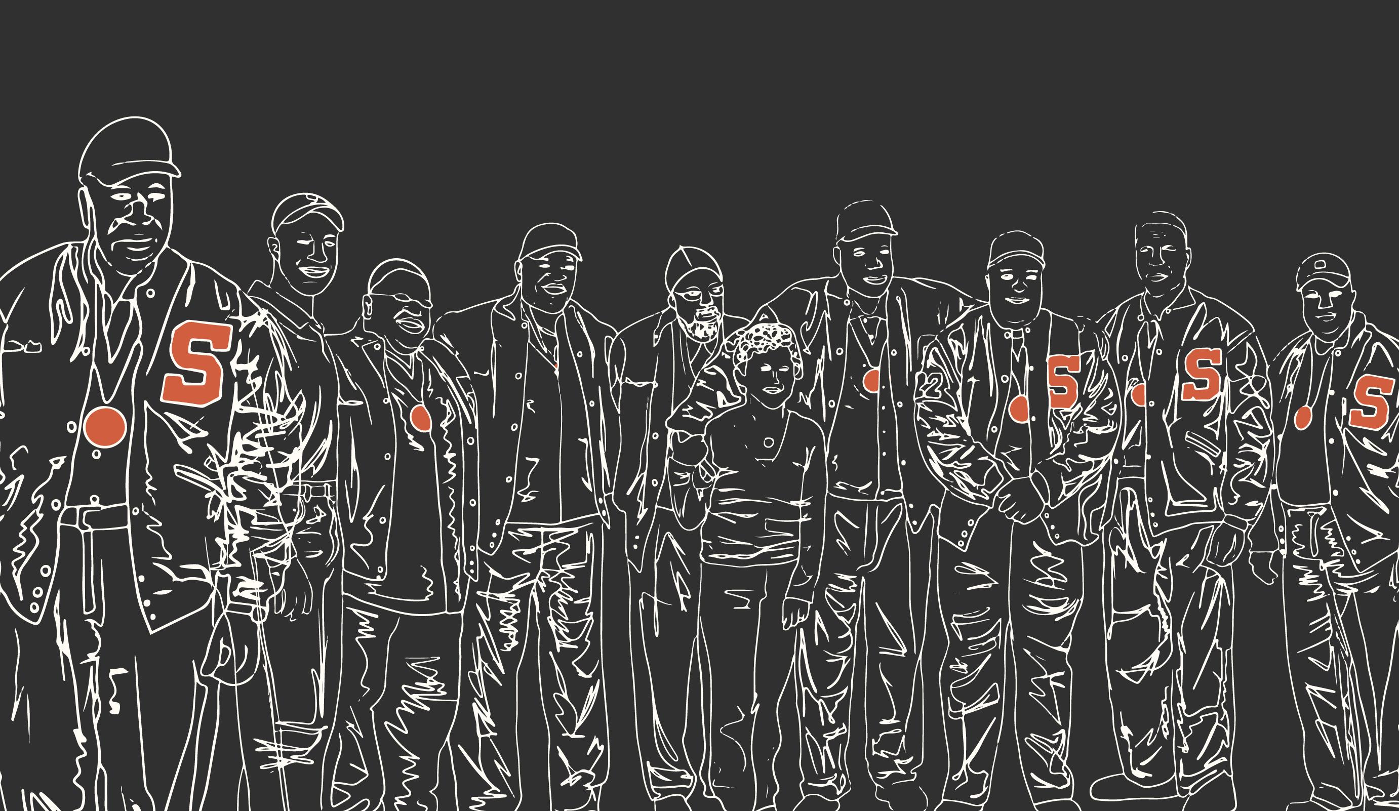Illustration of Syracuse 8 football players