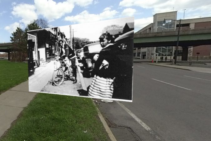 Historic photo of 15th Ward in Syracuse with current image near I-81