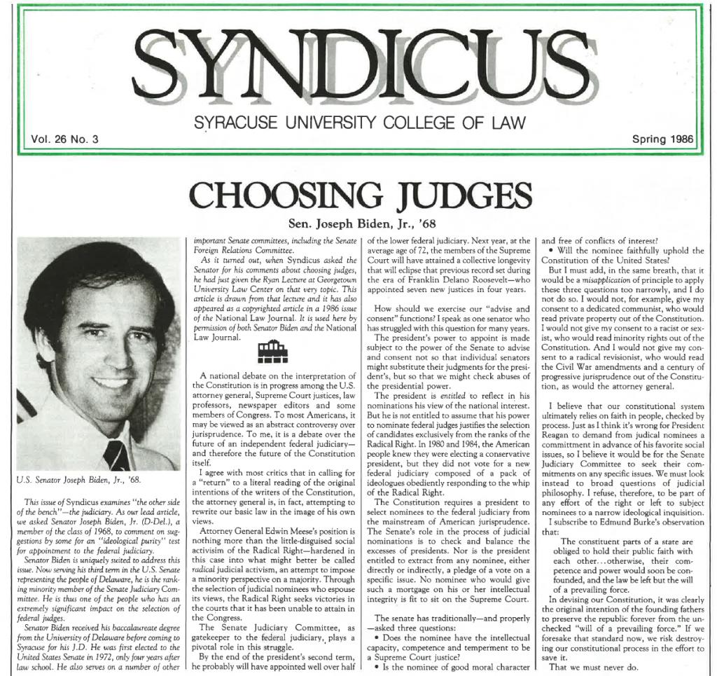 In 1986, then-U.S. Senator Joe Biden penned a story about the