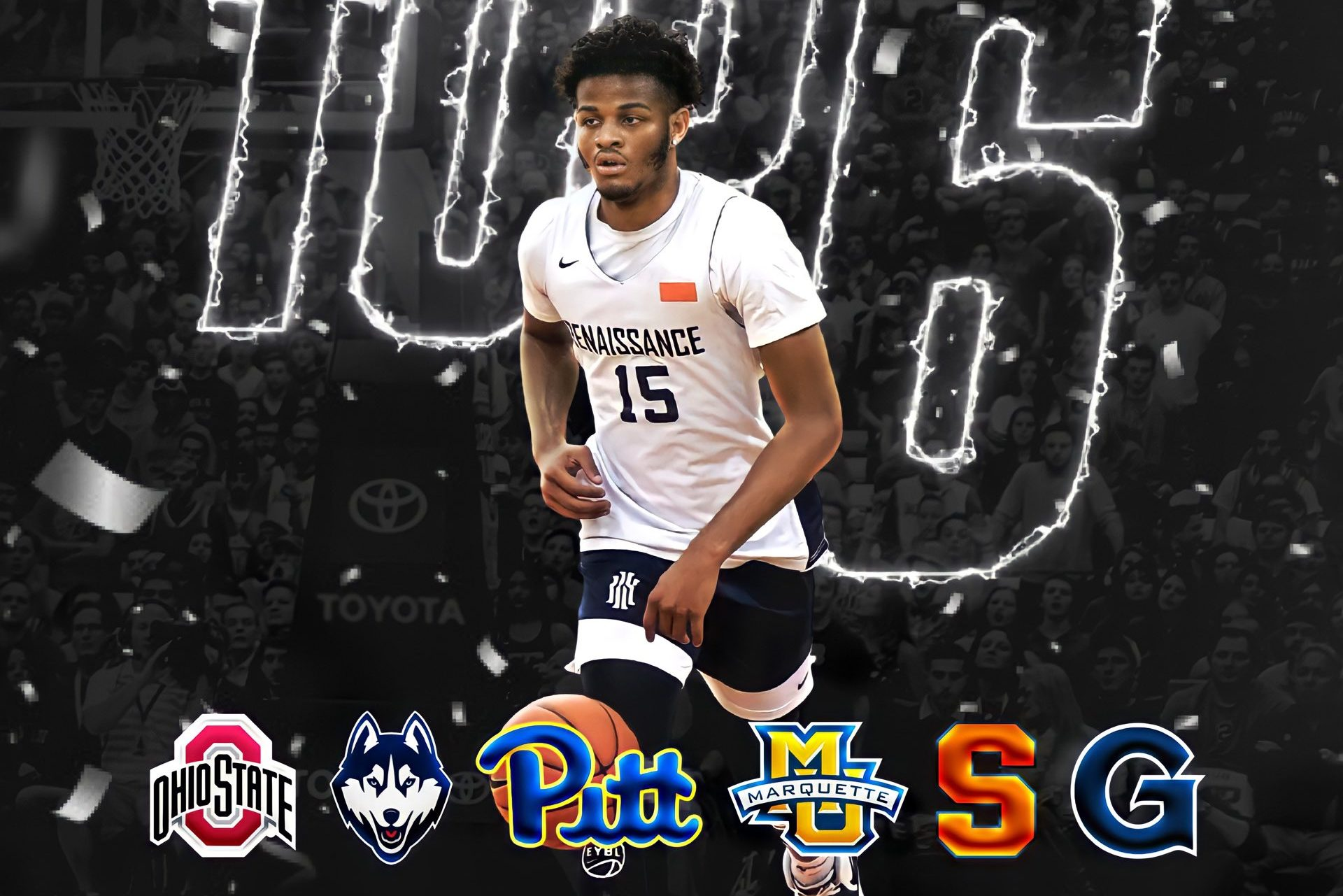 Social media announcement by Roddy Gayle of final schools in consideration for the four-star recruit.