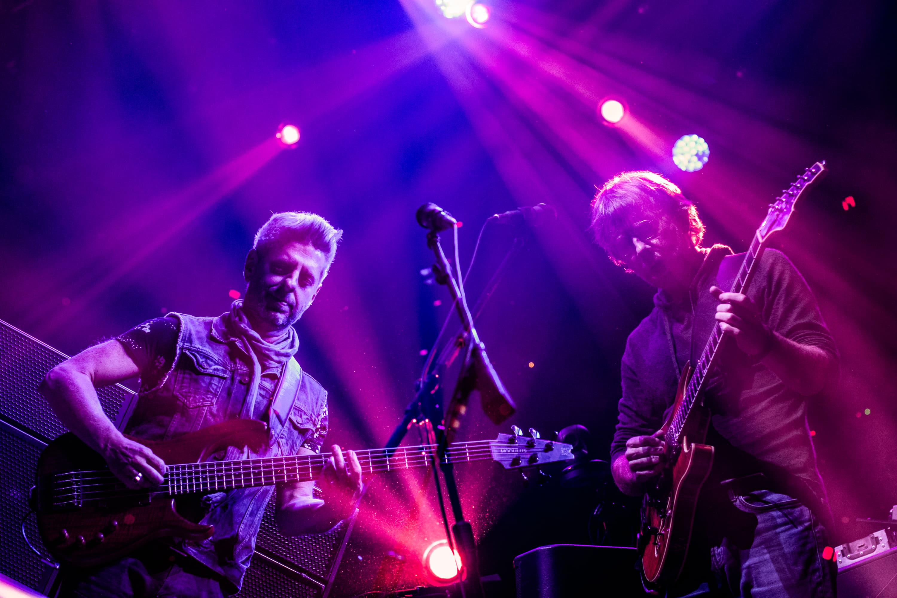 A double exposure of Mike Gordon and Trey Anastasio or Phish live at the Times Union Center in Albany, N.Y., on Oct. 17, 2018