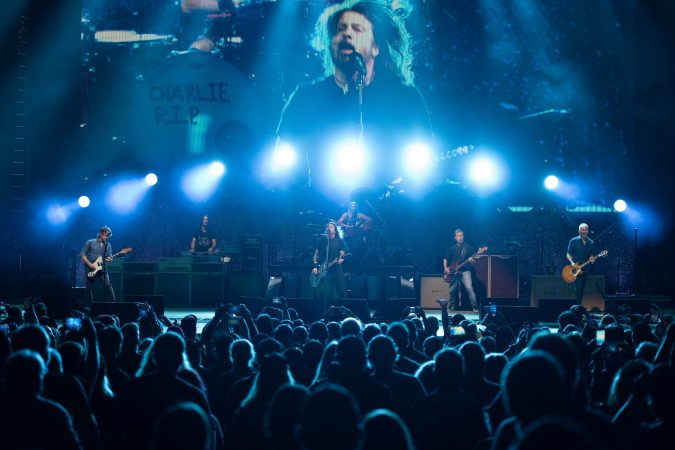 The Foo Fighters jammed on the St. Joseph's Health Amphitheater after a flight issue delayed the Wednesday concert's start until 10 p.m.