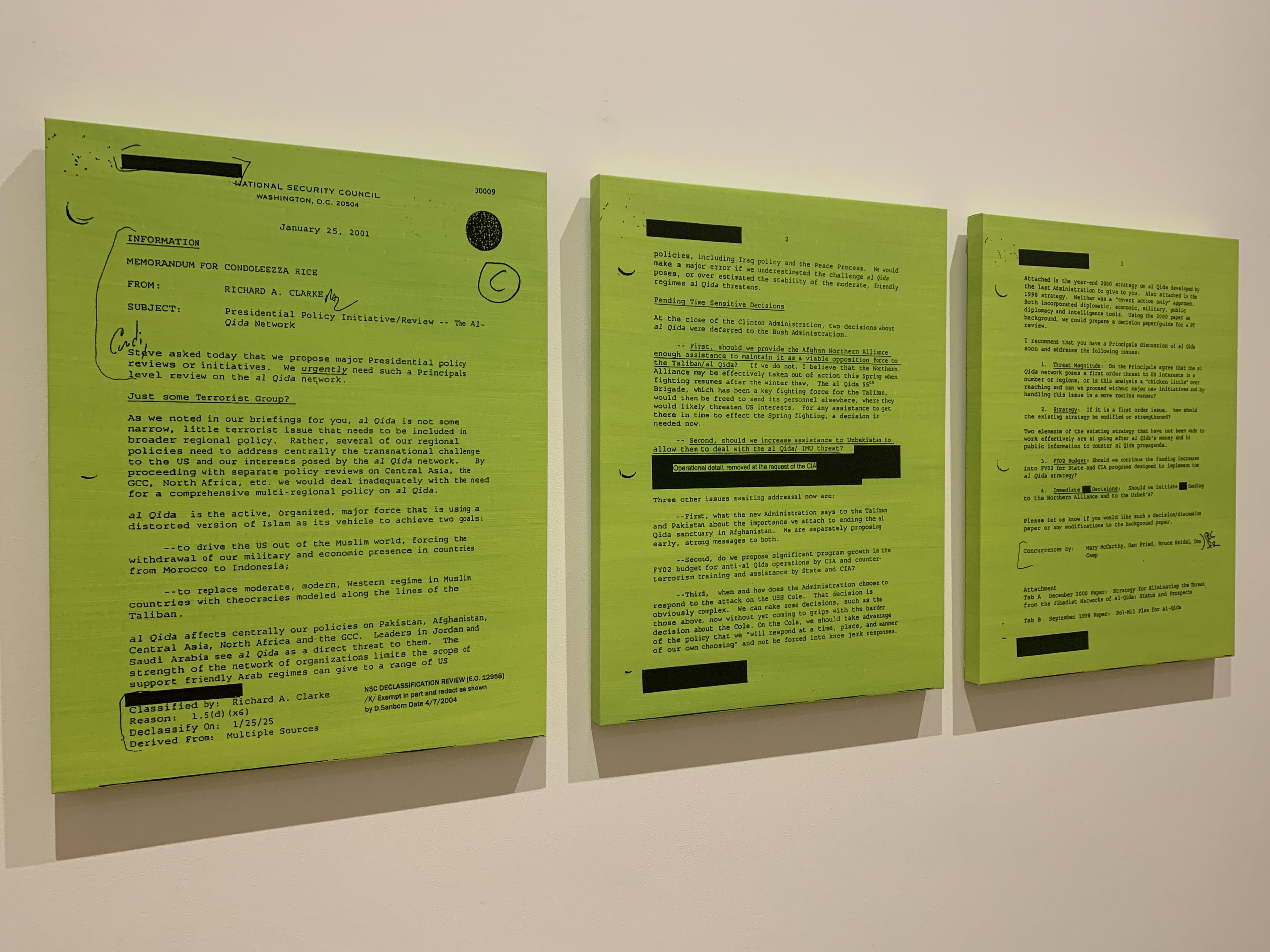 """Jenny Holzer's """"MEMORANDUM FOR CONDOLEEZA RICE GREEN"""""""