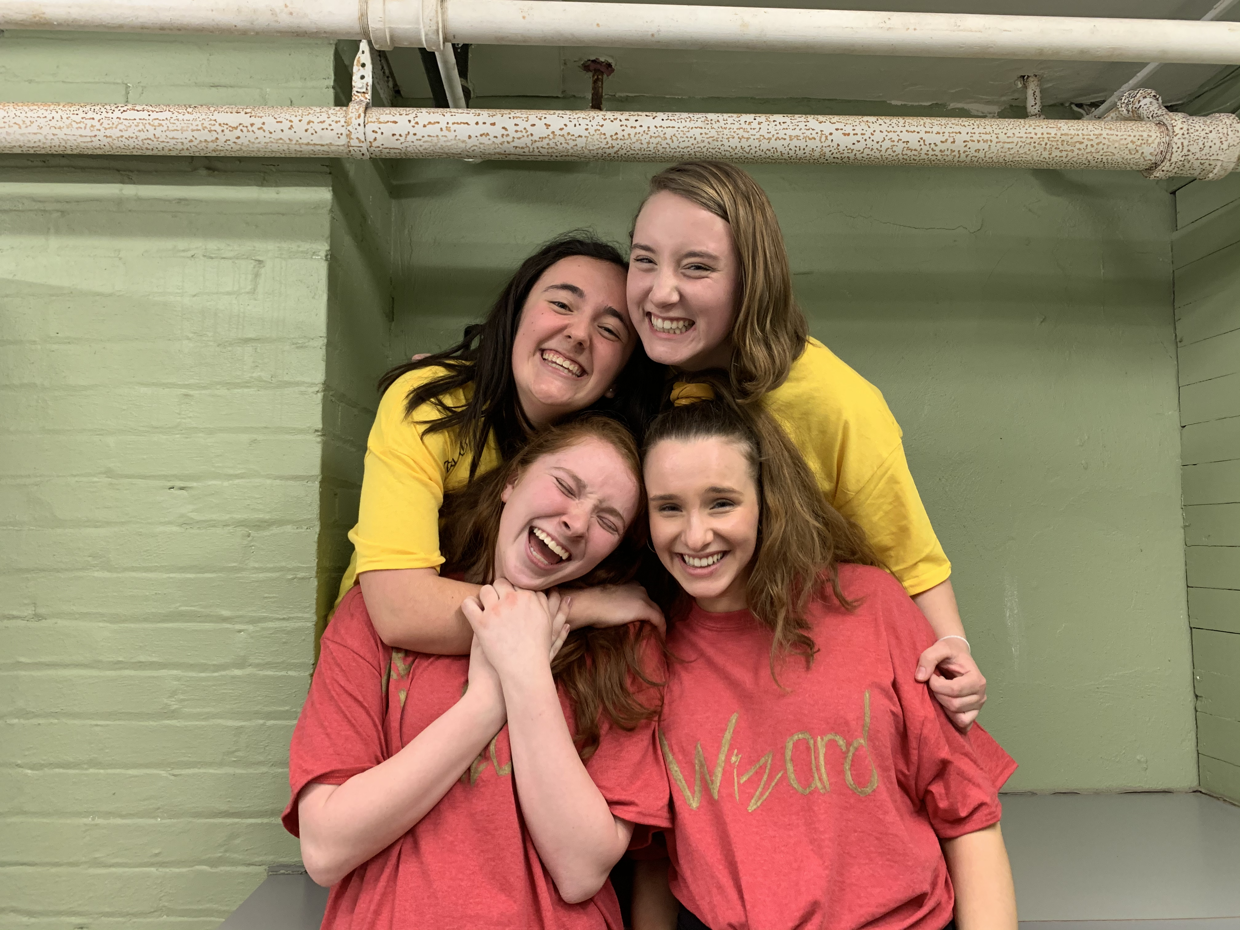 Allison Ingrum poses with her friends the last night before leaving SU campus in March 2020