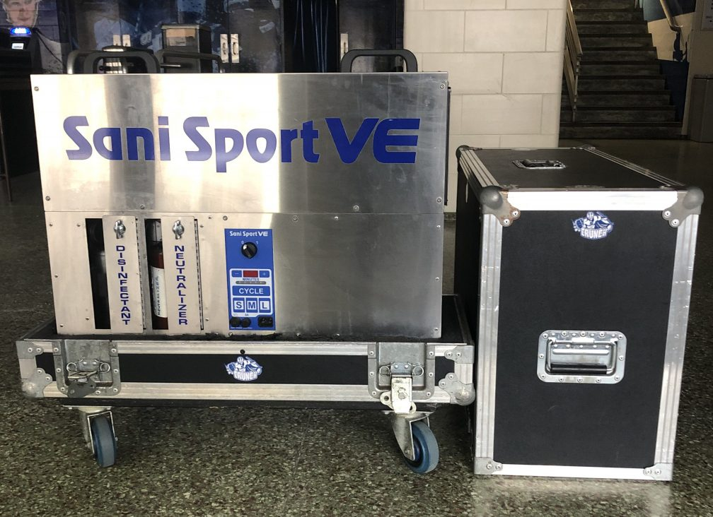 Syracuse Crunch loaned two Sani Sport machines to Upstate Hospitals to help clean face shields.