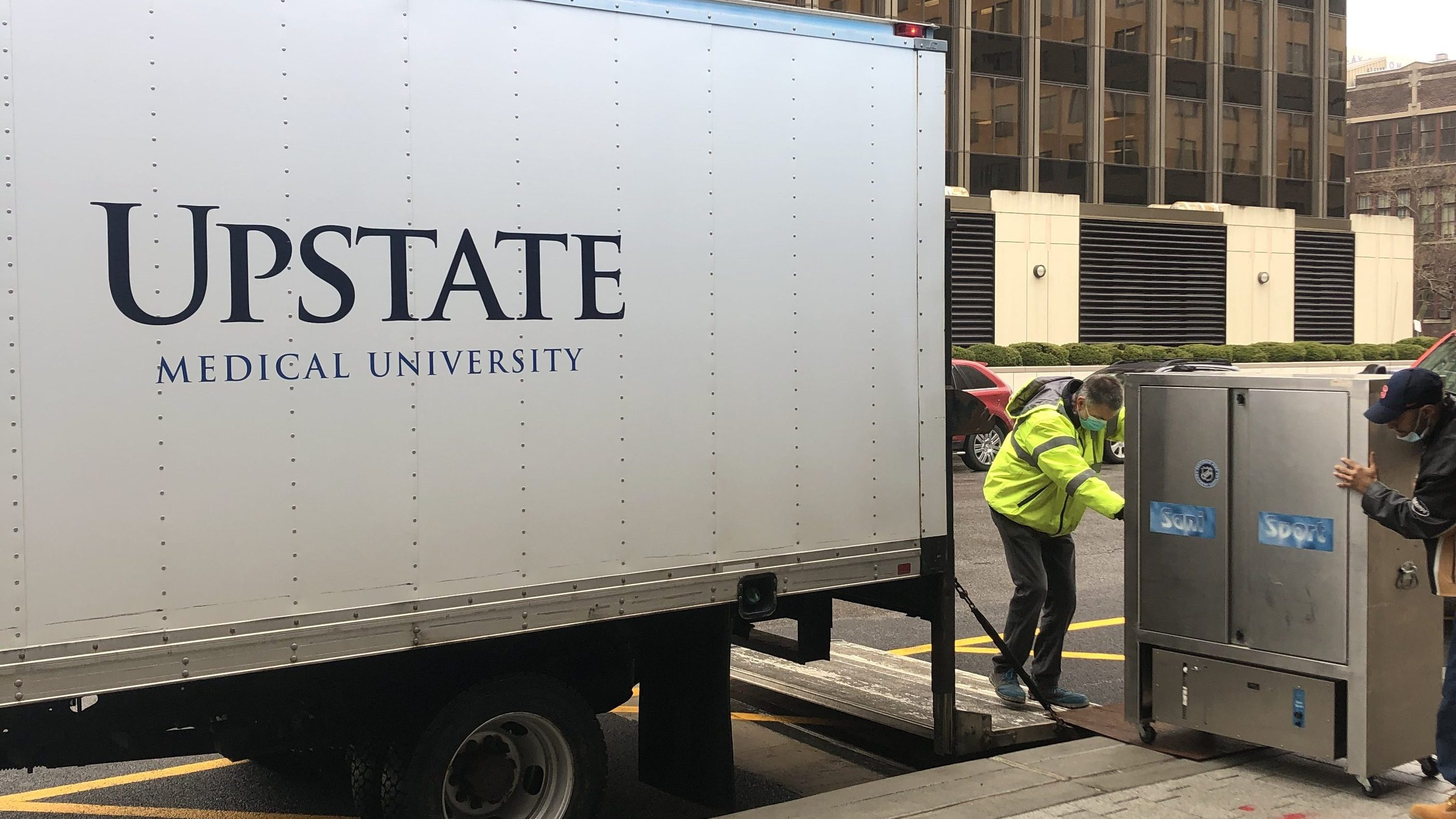 Syracuse Crunch delivered two Sani Sport machines to Upstate Hospitals to help clean face shields.