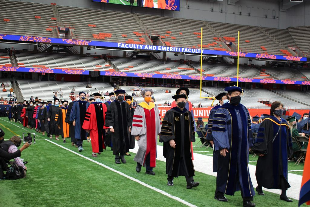 SU faculty proceeds in during the September 19, 2021 Commencement ceremony in the Dome on September 19th, 2021.