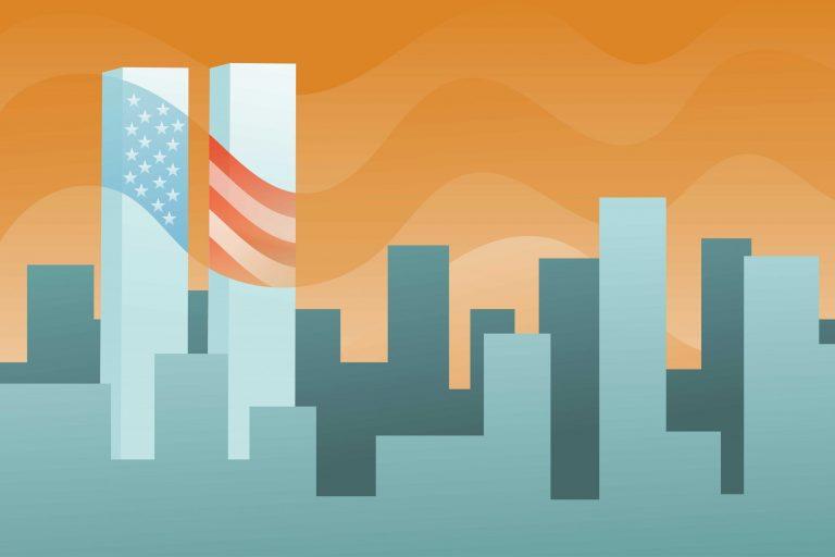 9/11 20th Anniversary illustration of World Trade Center