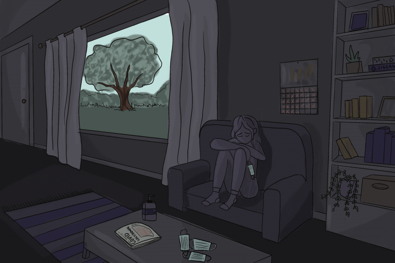 Illustration of young person with mental health concerns during COVID-19 pandemic