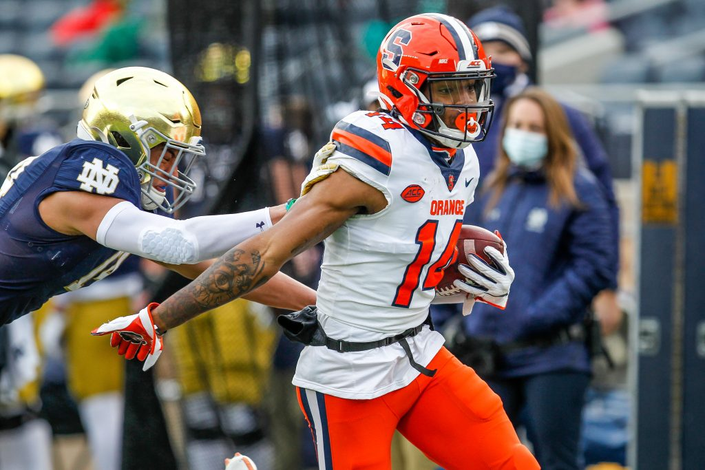 Syracuse's Anthony Queeley makes his way to the endzone to score in the second of the No. 2 Notre Dame-Syracuse matchup inside Notre Dame Stadium.