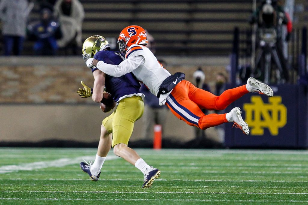 Syracuse safety flys to make a tackle in the second half of the No. 2 Notre Dame-Syracuse matchup inside Notre Dame Stadium.