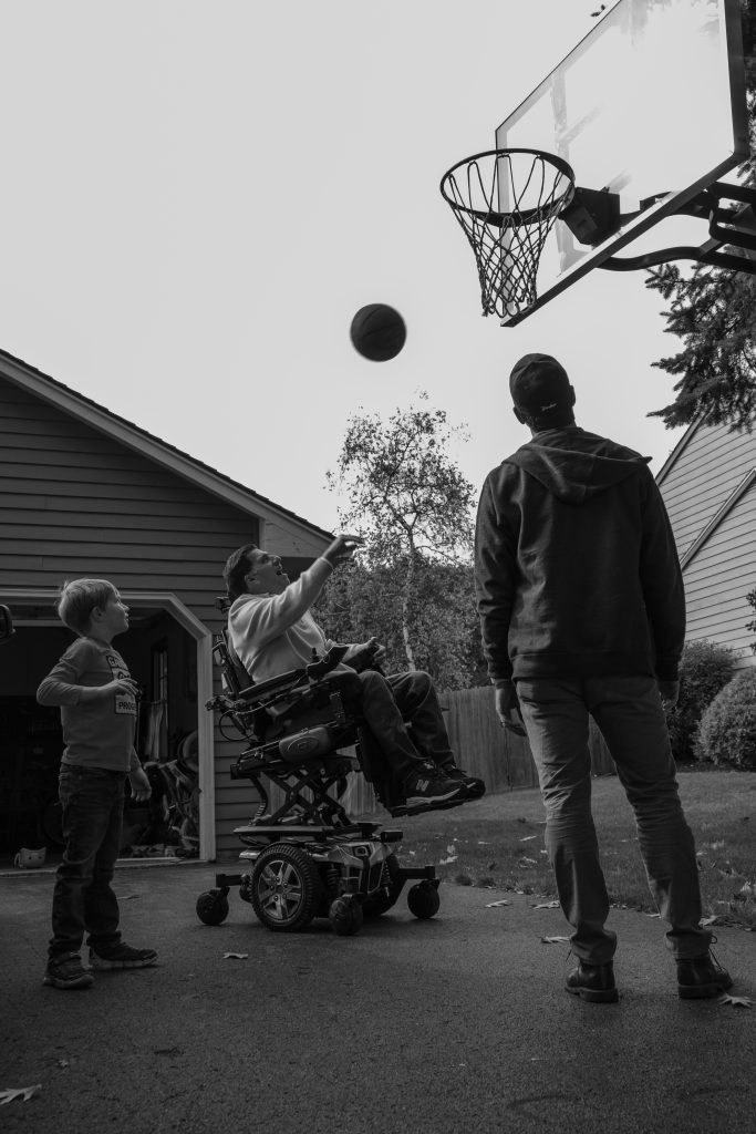 October 18th, 2020. Although Joseph Pagano has limited mobility, he is still able to shoot hoops with his son and grandson. Everyone waited breathlessly as Joseph shot the ball and cheered as he made the basket.