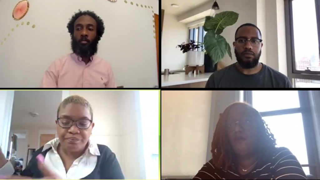 Four panelists discuss police violence as part of a virtual discussion held by Syracuse University.