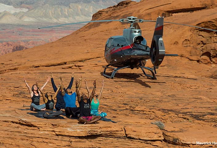 After the 45-minute round-trip helicopter ride, you will experience a 75-minute Savasana yoga class with customized music playing through wireless headphones.