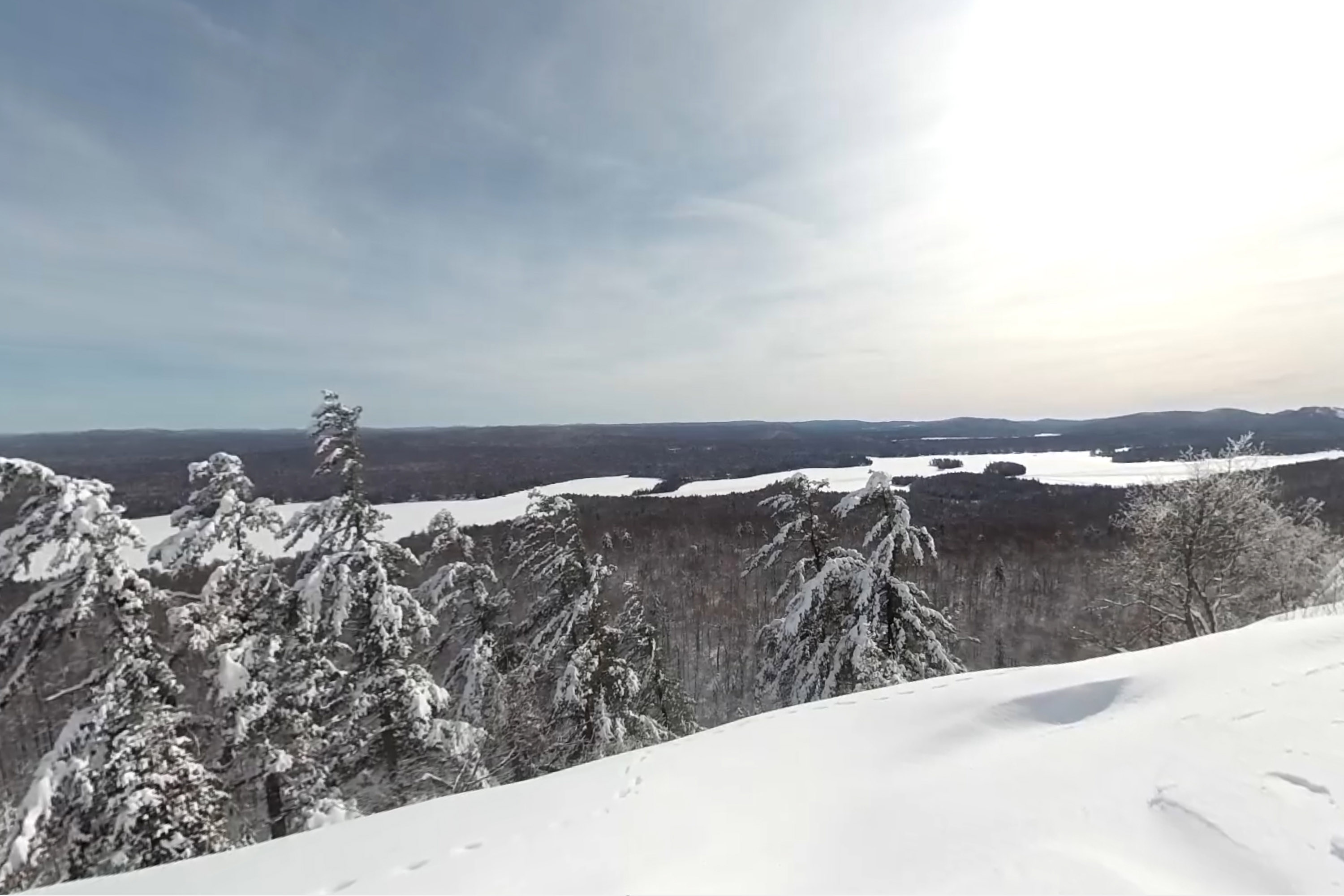 View of Fulton Chain Lakes from atop Bald Mountain near Old Forge in the Adirondacks.