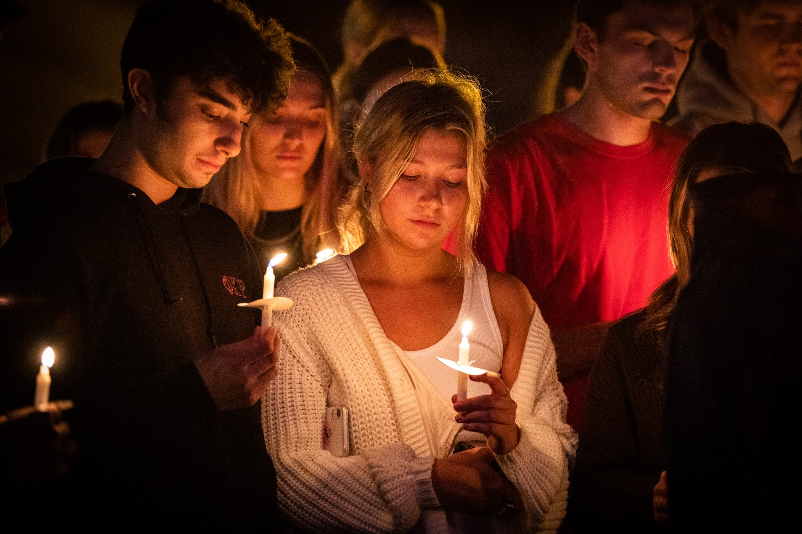 Syracuse University students gathered outside Hendrick's Chapel for a candlelight vigil in honor of Hunter Brooks Watson and Vincent Gian Maugeri, two brothers of the Phi Kappa Psi fraternity who lost their lives to distracted driving.