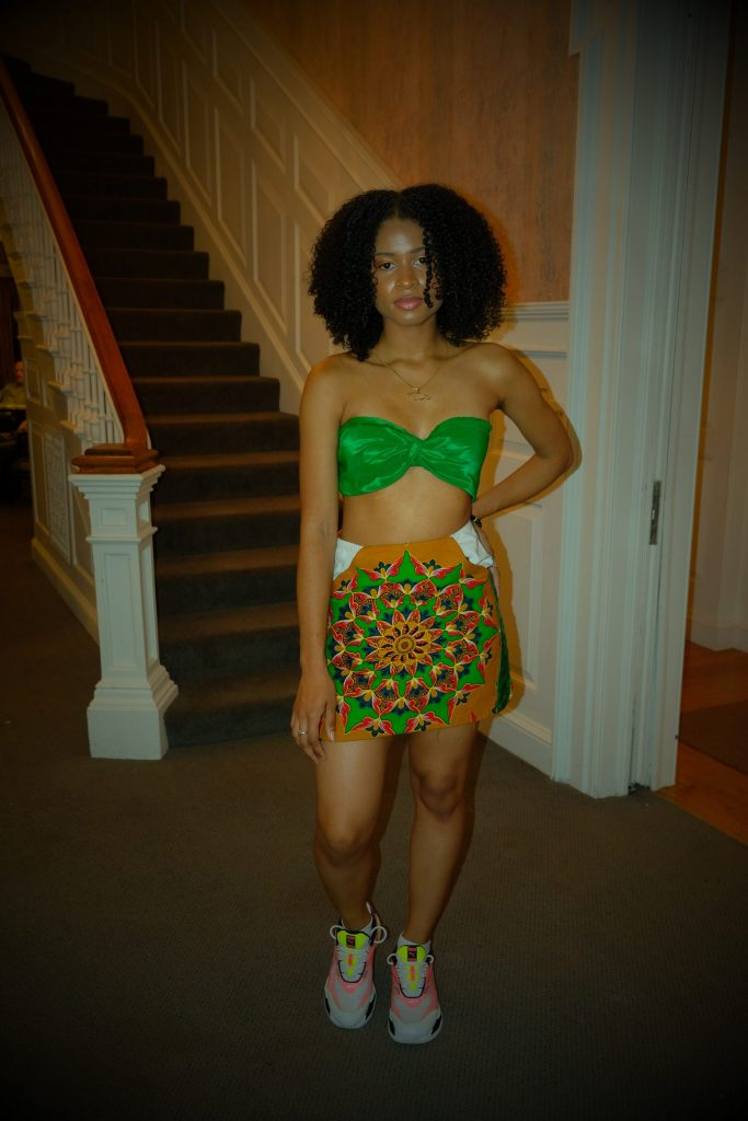 Nia-Patrice Lewis wears her Akua two piece on the runway.