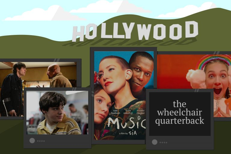 Movie and TV scenes and posters are illustrated in front of an illustration of the Hollywood sign.