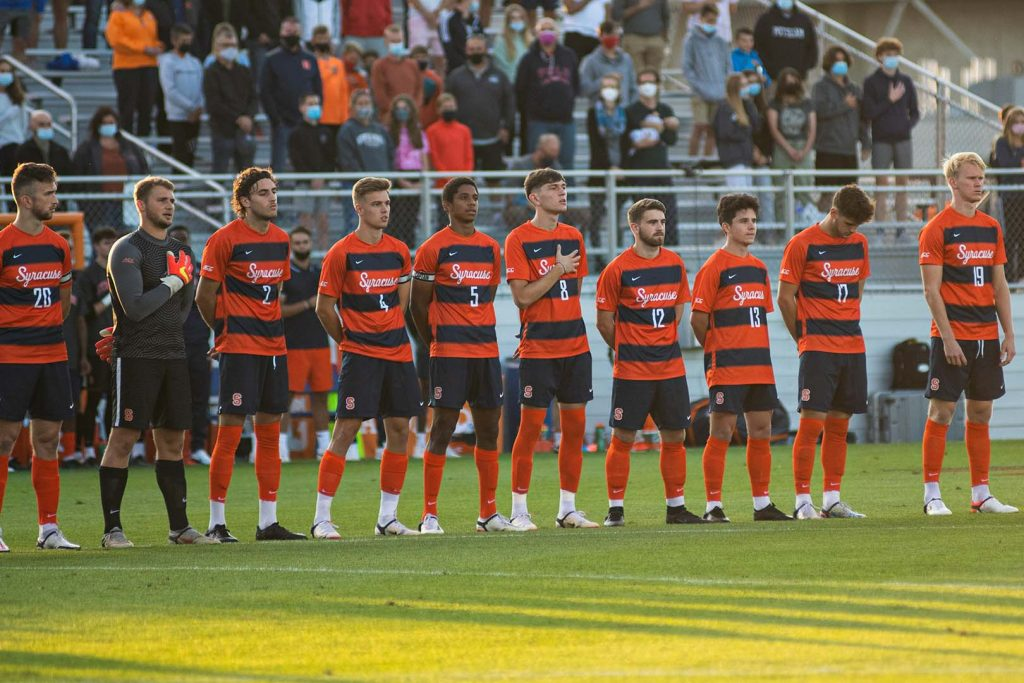 The Syracuse Men's Soccer team during the national anthem on 9/3/21.