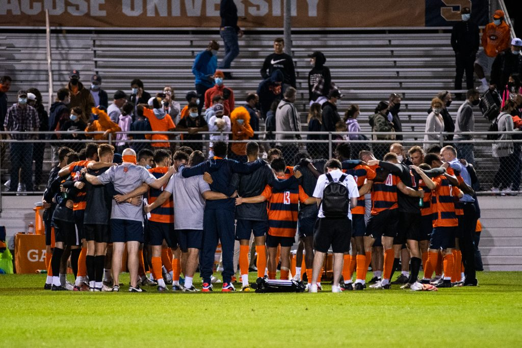 The Syracuse Men's Soccer team gets together after their loss versus Georgetown on 9/3/21.