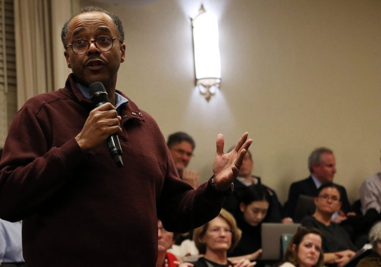 Syracuse University's Chief Diversity Officer Keith Alford explains what happened from his perspective regarding the claims that students were told not to post anything about the racist graffiti during a senate faculty meeting on Nov. 20, 2019.