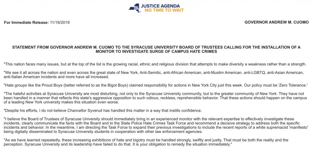 Statement from New York Gov. Andrew Cuomo