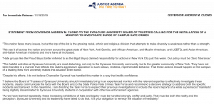 Statement from New York Gov. Andrew Cuomo