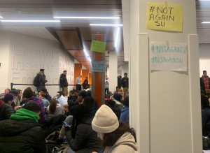 Barnes Center sit-in protest on Nov. 13, 2019, in response to the Day Hall racist graffiti incident.