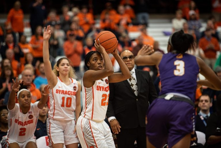 Syracuse guard Kiara Lewis prepares to take a shot. Lewis scored 17 points in their victory 75-53 against Albany.