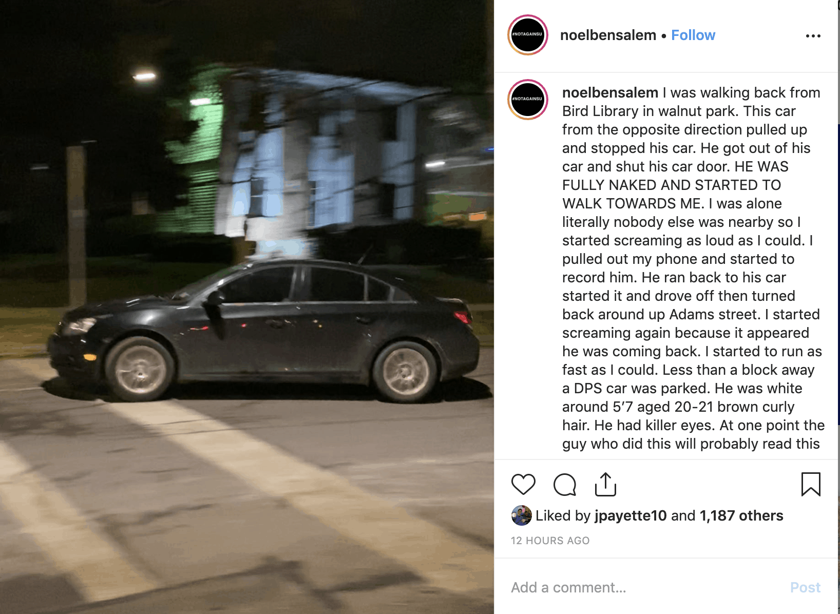 Instagram post regarding sexual harassment report on Walnut Place on Nov. 19, 2019.