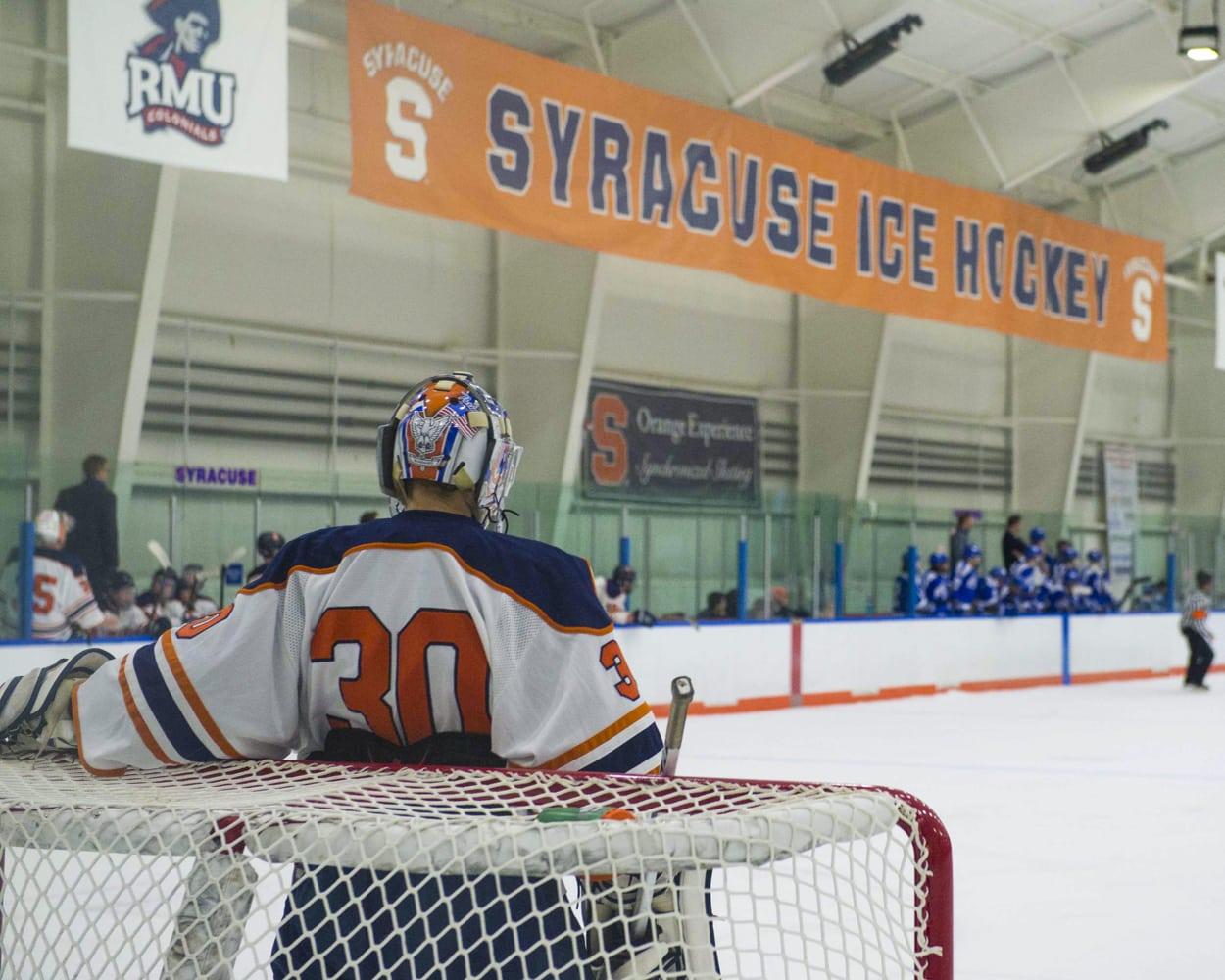 SU hockey goalie helmet