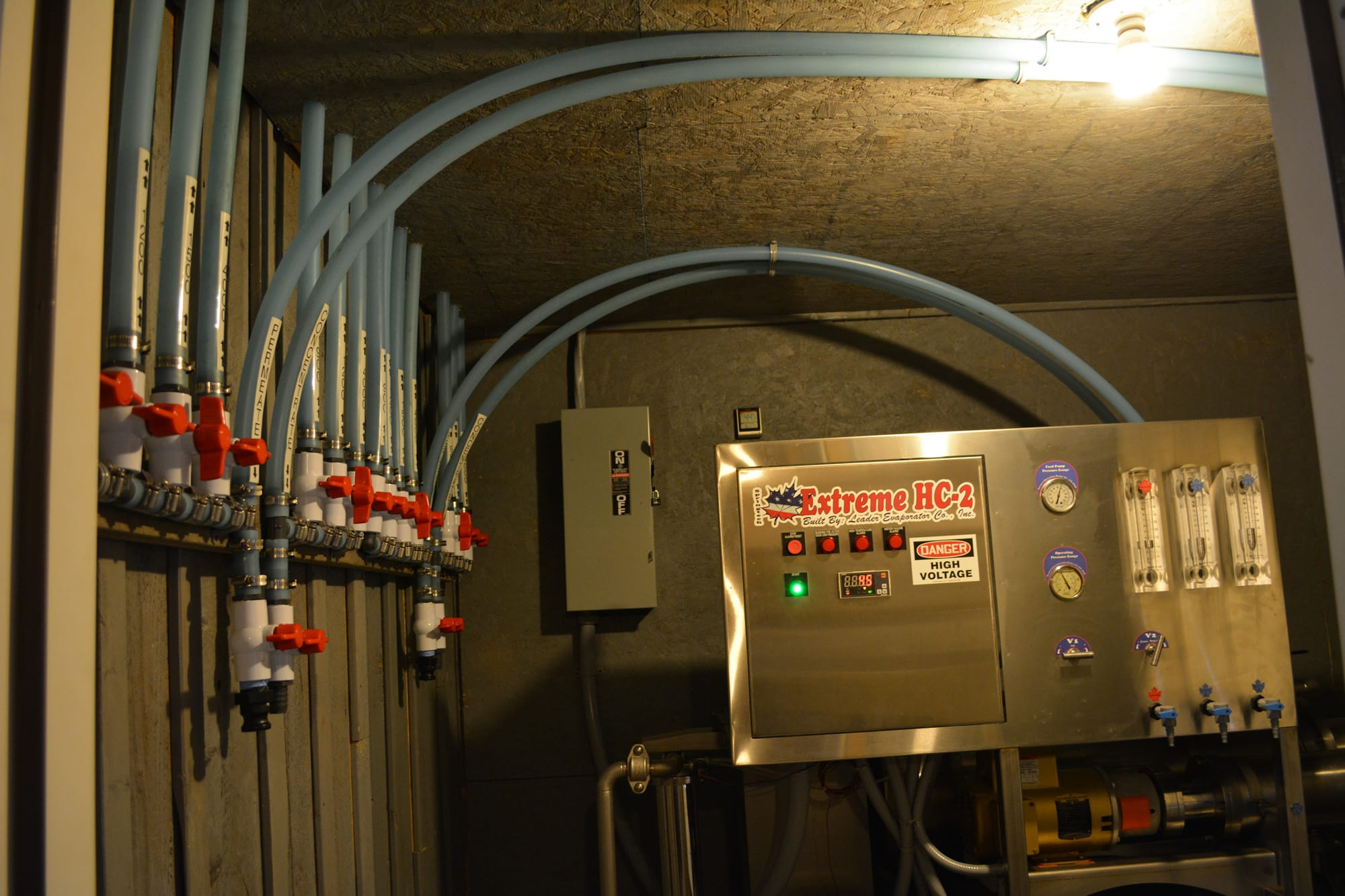 Through a series of tubes lining the ceiling of Dutch Hill's sugarhouse, the sap enters the reverse osmosis machine. The technology removes at least 75 percent of the water from the sap and concentrates the liquid to be 10 percent sugar, which helps cut boiling time and fuel consumption.