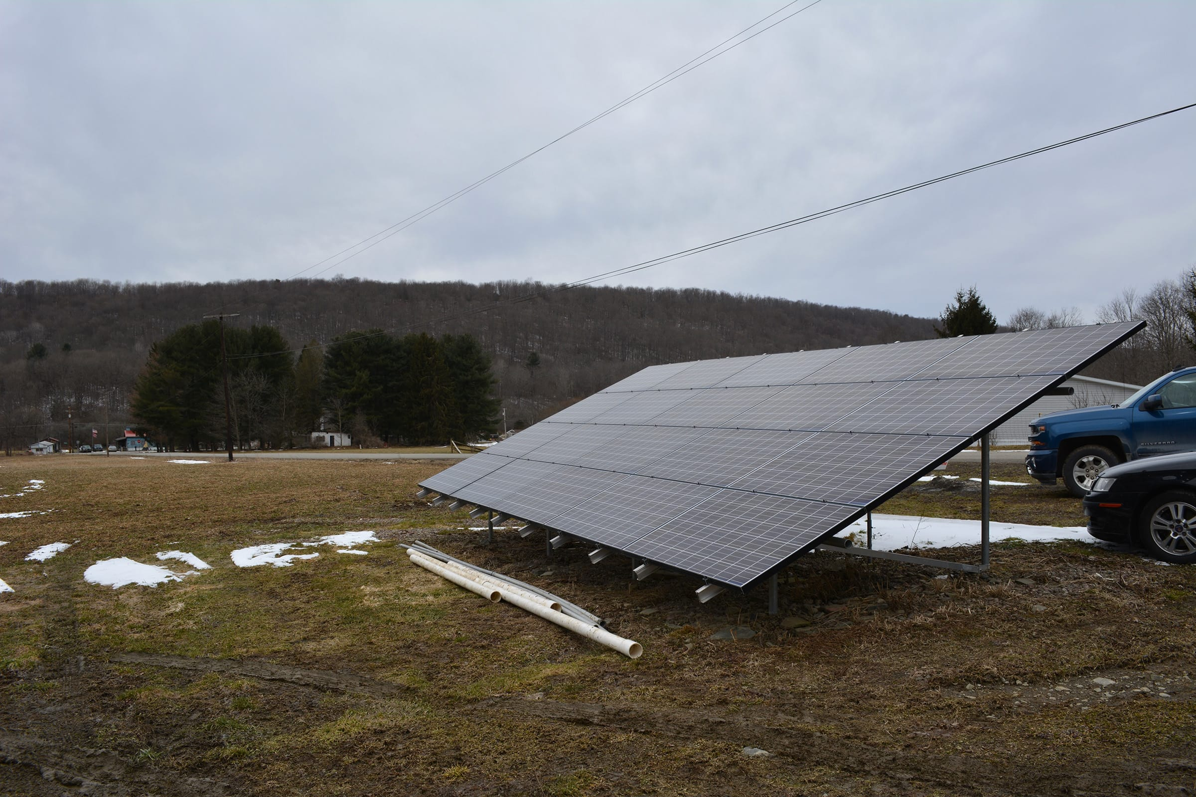 The 20-panel solar collector at SweeTrees Maple in Berkshire, New York.