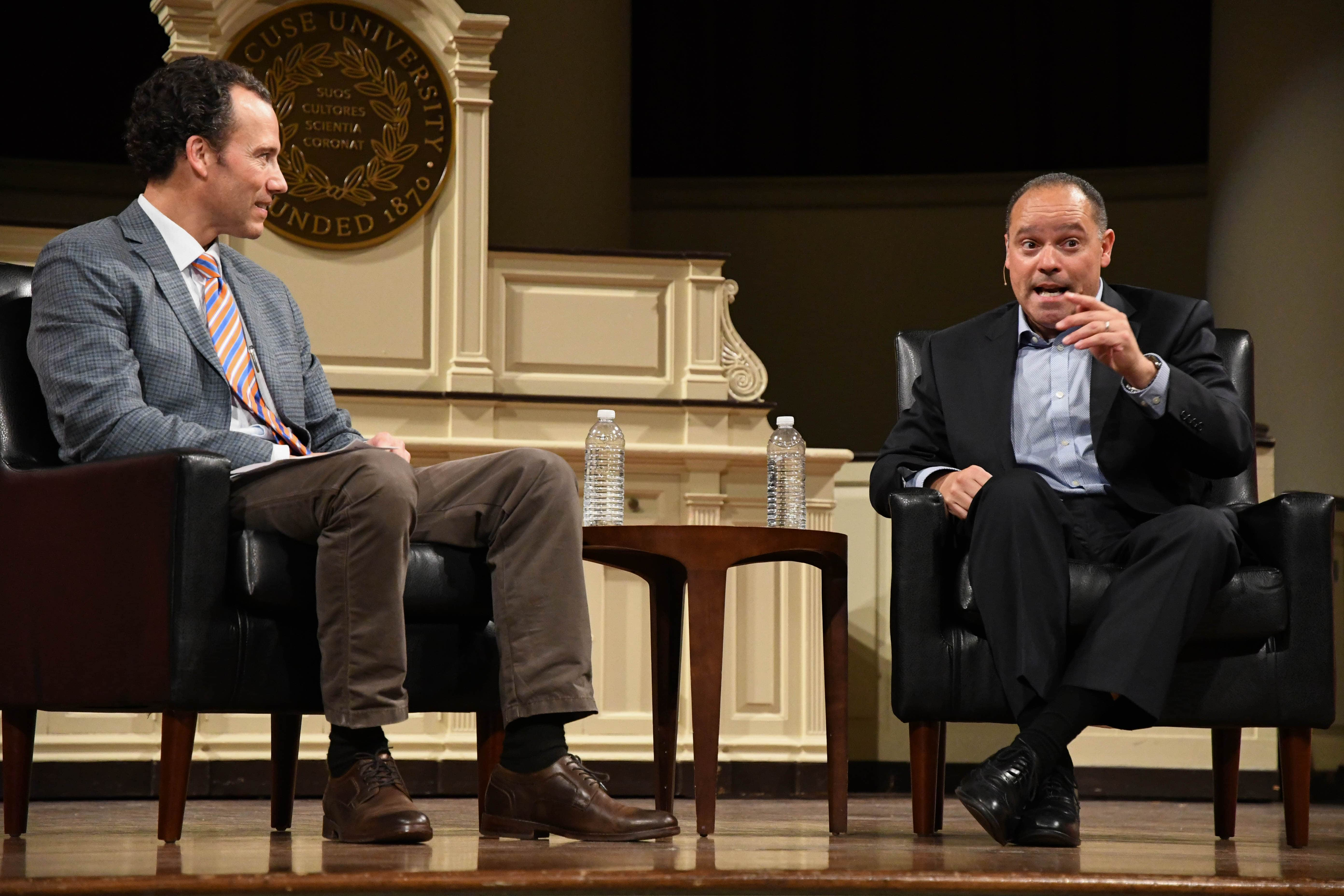 Broadcast & Digital Journalism professor Simon Perez asks Marcus Solis questions about the media industry at Hendricks Chapel on Tuesday.