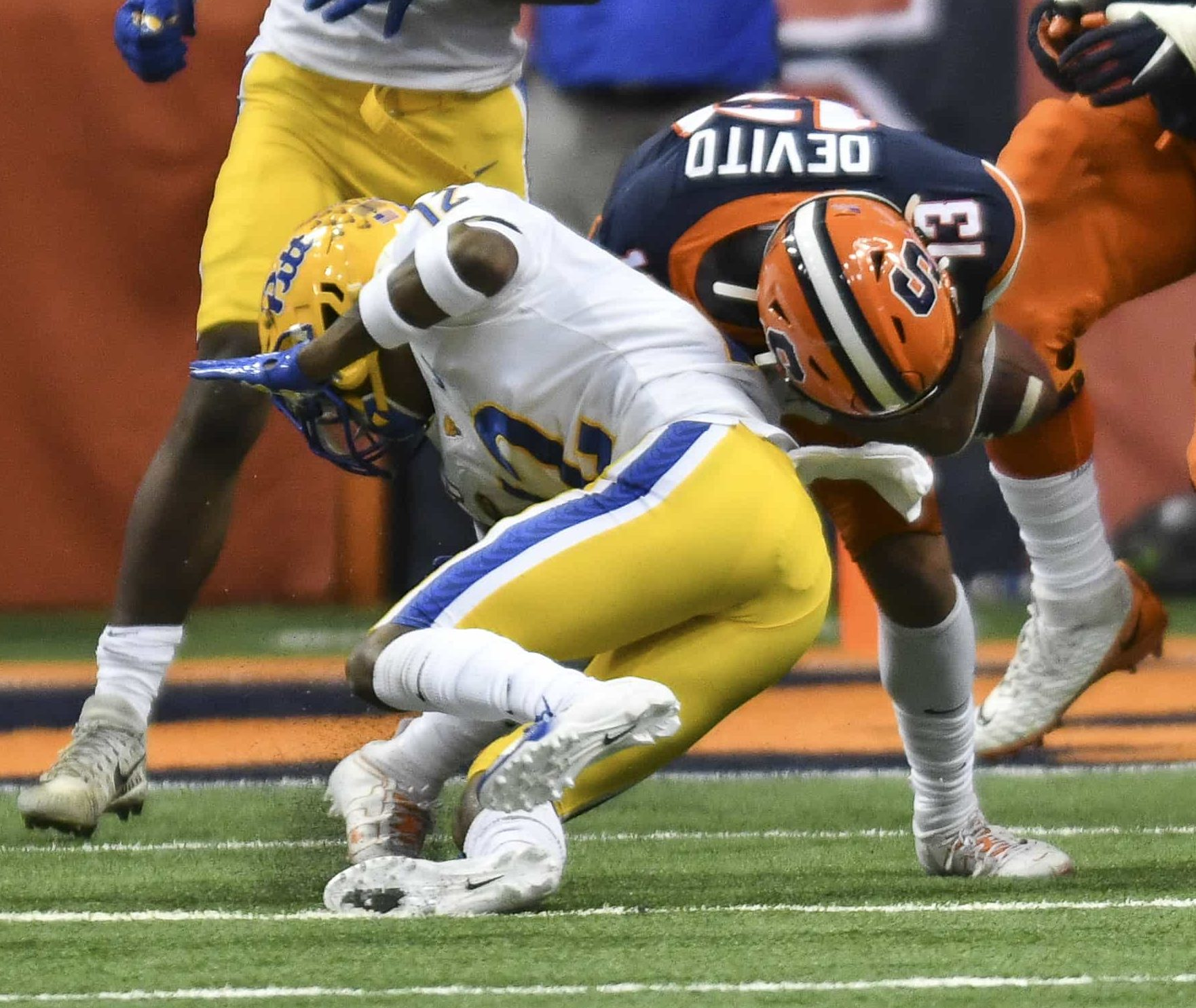 Tommy DeVito sustained a thunderous hit when Pitt defensive back Paris Ford lowered his shoulder. After the play DeVito exited the game.