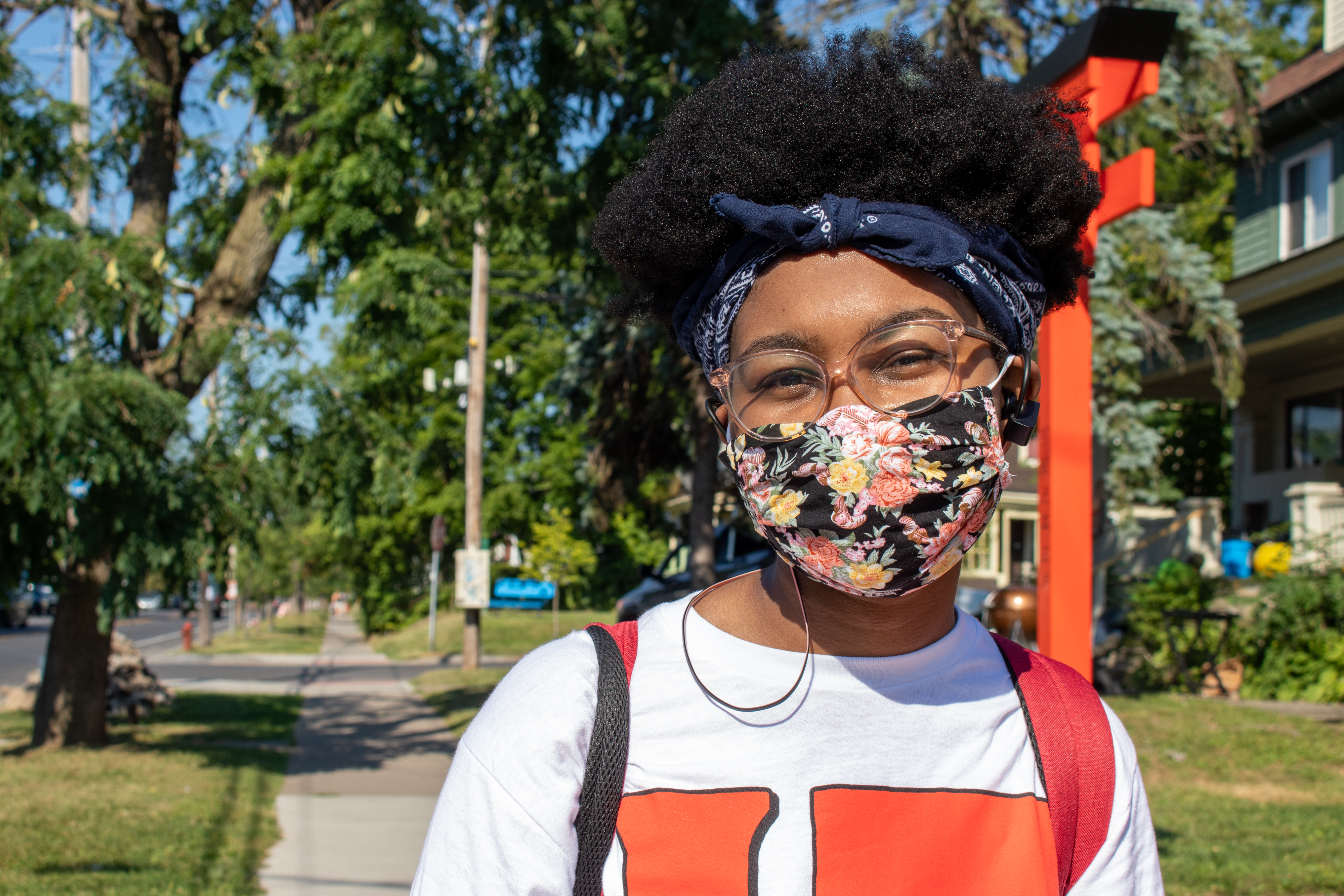 """English and textual studies graduate student Zayla Crocker doesn't pay much attention to mask fashion. """"I think this mask was $1.50 at Target."""""""