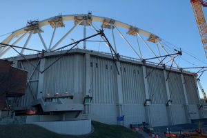 Carrier Dome lowers its air-pressured roof on Monday, March 16, 2020.
