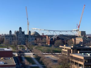 View from atop the Sheraton Hotel as the Carrier Dome lowers its air-pressured roof on Monday, March 16, 2020.