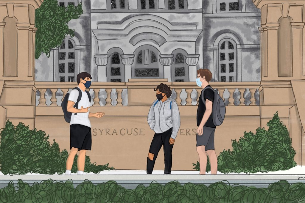 COVID on Campus illustration - Students at Hall of Languages