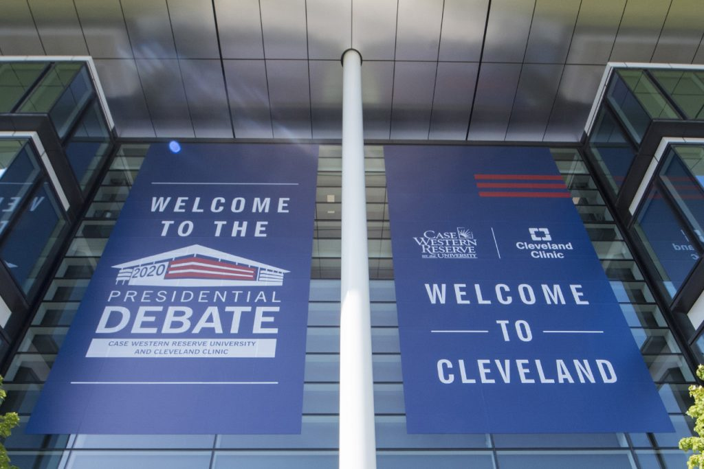 Banners outside Samson Pavilion at Case Western Reserve University for the 2020 Presidential Debate on Sept. 29, 2020.