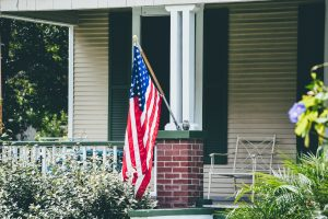 American flag on front porch