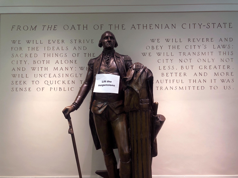 Maxwell Auditorium statue - Feb. 19, 2020