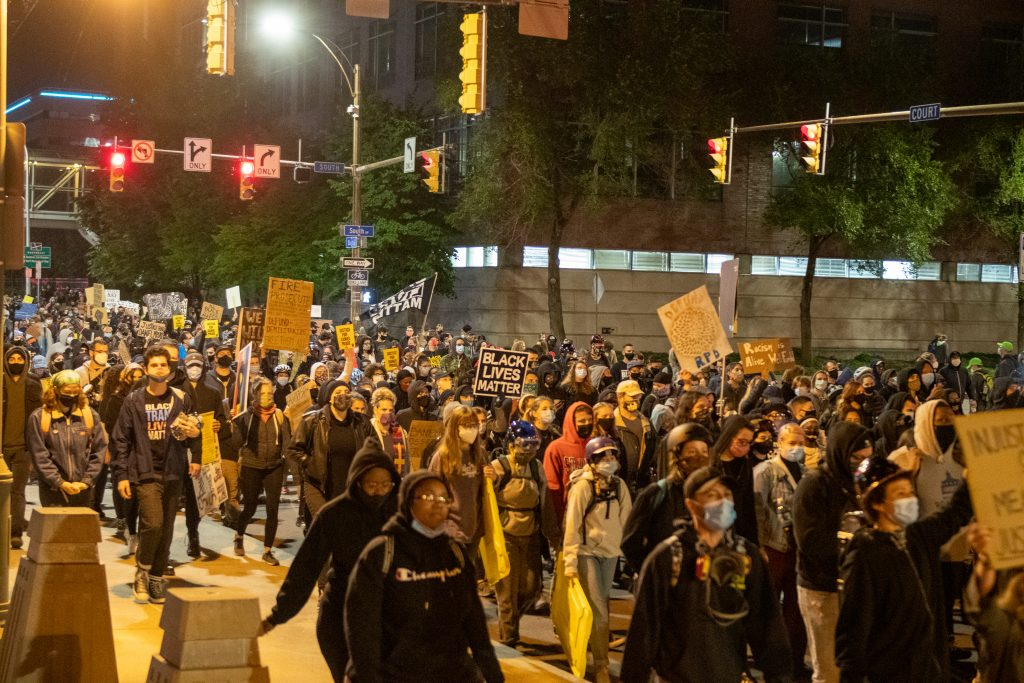 Friday September 11, 2020. Rochester, New York. The ninth consecutive night of Black Lives Matter protesters assembling after video emerged of Daniel Prude who died in police custody.