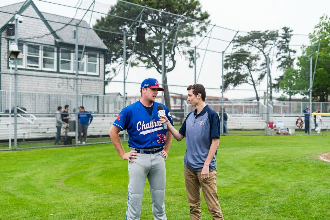 Cape Cod League reporter NAME interviews a Chatham player