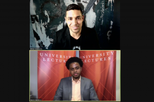 Actor Wilmer Valderrama speaking with David Barbier Jr., an international relations and television, radio and film sophomore for the University Lectures virtual talk on Sept. 23, 2020.