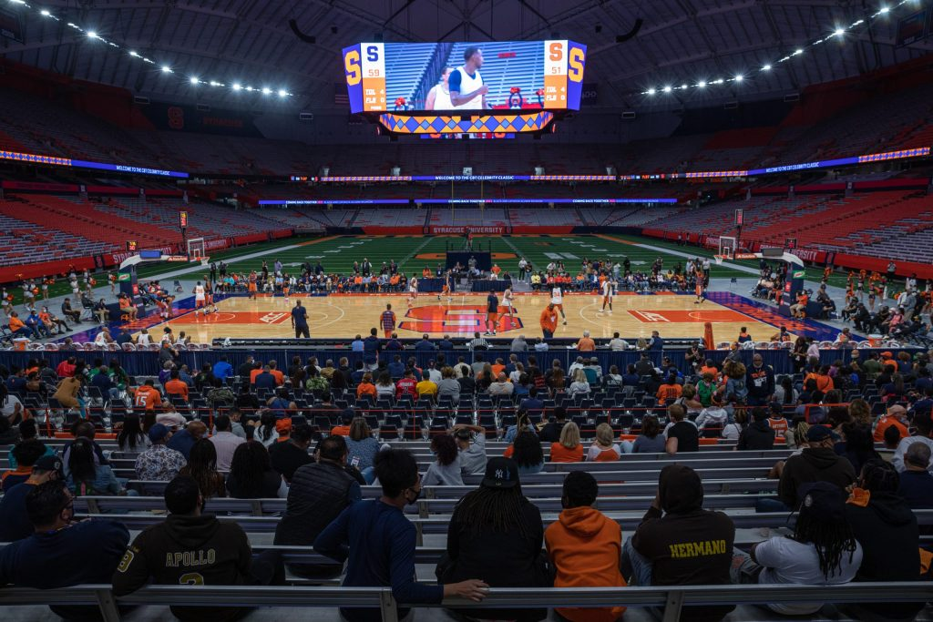 Fans watch from the stands as the Coming Back Together (CBT) Celebrity Classic exhibition basketball game enfolds.