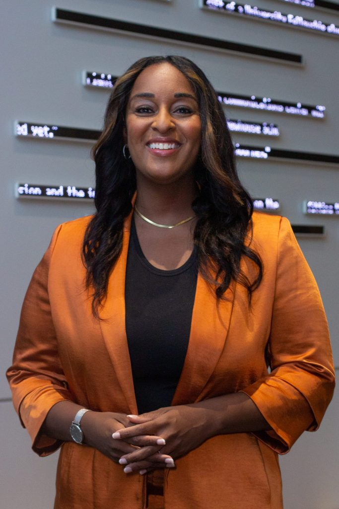 Natasha Alford poses for a portrait before her talk in Newhouse's Herg Auditorium on Wednesday, September 22, 2021. Alford is vice president of digital content and a senior correspondent at TheGrio as well as a political analyst for CNN. Her talk,