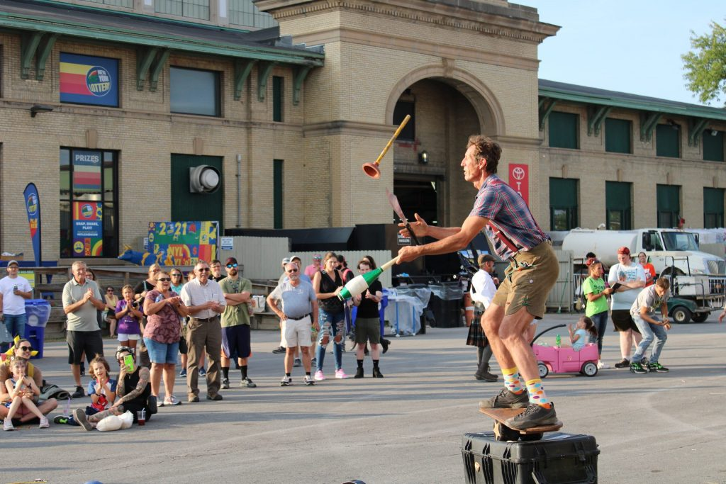 Michael Hilby, the Skinny German Juggle Boy, performed his comedy juggling act at the New York State Fair.