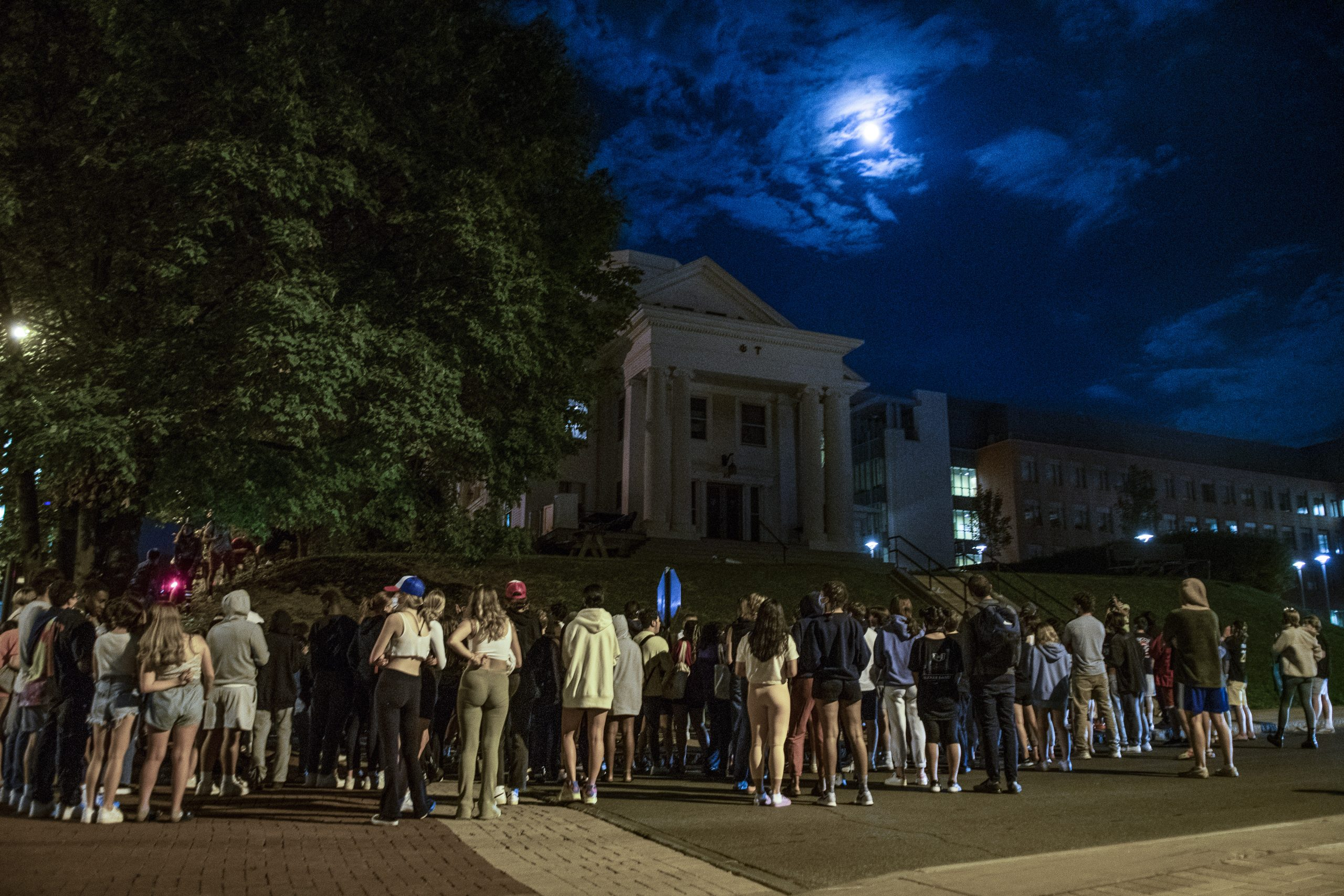 A group of students gathered tonight to protest recent allegations of sexual misconduct by Syracuse University affiliated fraternities. The gathering began around 9 p.m. Tuesday, and dispersed at roughly 11 PM.
